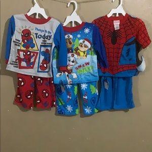 Lot of 3 Kids Pajamas Spider Man & Paw Patrol